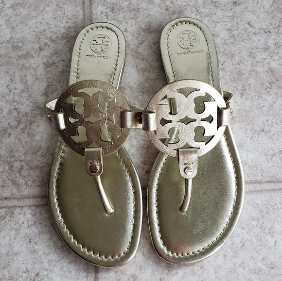 a73998926f333 Tory Burch Spark Gold Millers 9.5M NWOB